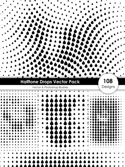 Halftone Drops Shape Pattern Vector and Photoshop Brush Pack-01