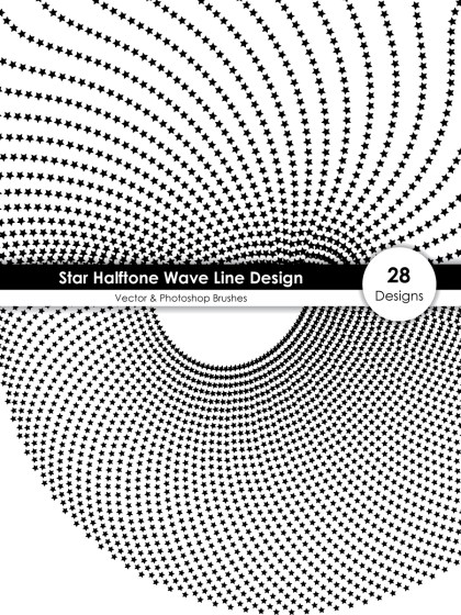 Star Halftone Wave Line Design Vector and Photoshop Brush Pack