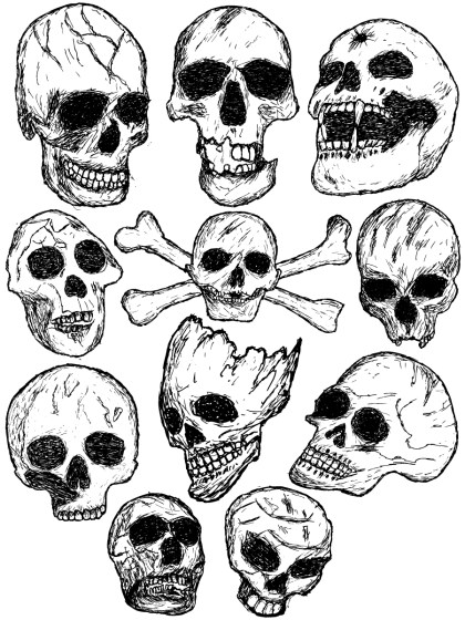 Hand Drawn Skull Vector and Photoshop Brush Pack-01