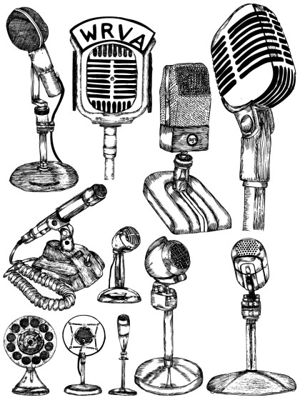 Hand Drawn Microphone Vector and Photoshop Brush Pack-01