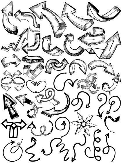 Sketchy Doodle Arrows Vector and Photoshop Brush Pack-01