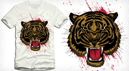 Vector Tee Graphics Design with Tiger Head
