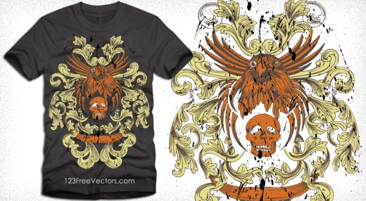 Vector T-Shirt Design with Eagle, Skull and Floral