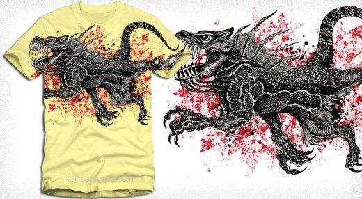 Dragon T-Shirt Grunge Vector Graphic Design