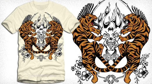 Vector T-Shirt Design with Tigers, Flame Skull and Flowers