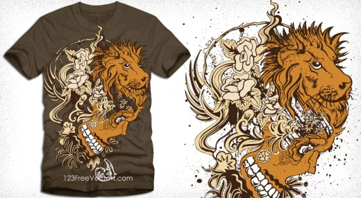 Vector Tee Graphics with Lion Head, Skull and Flowers