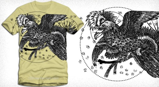 Vector T-Shirt Design with Bird