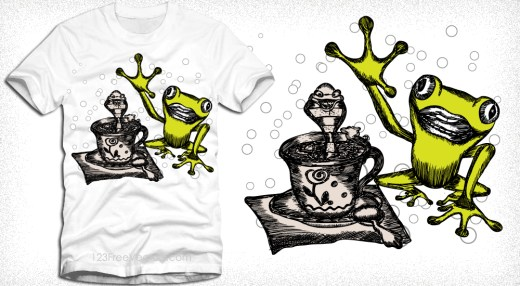 Vector Cartoon Frog T-Shirt Design