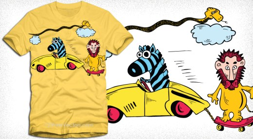Cartoon Lion with Zebra, Snake and Car Vector T-Shirt Design