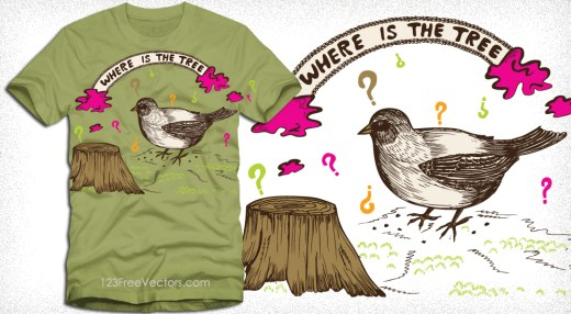 Cut Tree with Thinking Bird Vector T-Shirt Design