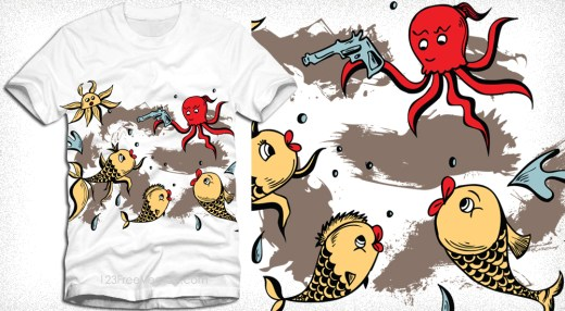 Sea Creatures Cartoon Octopus and Fish Vector T-Shirt Design
