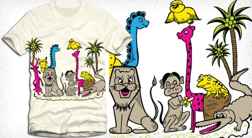 Cute Cartoon Jungle Animals Vector T-Shirt Design