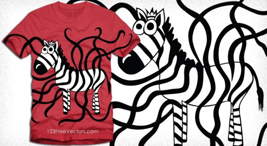 Zebra T-Shirt Design Vector Graphics