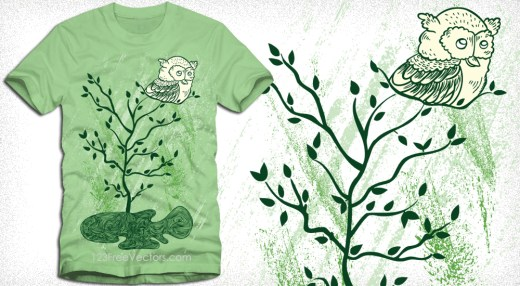 Owl Sitting on a Tree Vector T Shirt Design