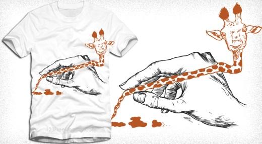Cute Cartoon Giraffe Pencil Vector T-Shirt Design
