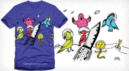 Cute Cartoon Birds in the Space Vector T-Shirt Design