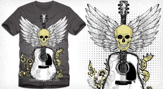 Vector T-Shirt Design with Skull, Guitar and Wings