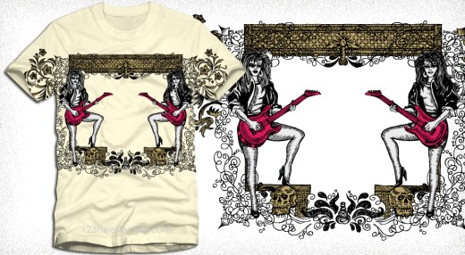 Modern Girls Playing Guitar with Floral Decorative Arch T-Shirt Design