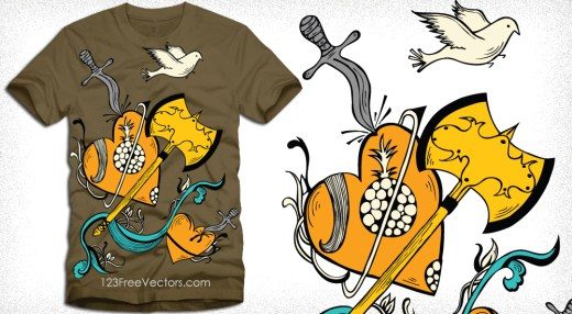 Vector T-Shirt Design with Heart, Flying Bird, Knife and Axe