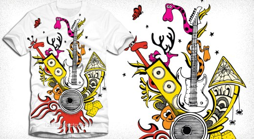 Vector Tee Design with Cute Funny Cartoon Animals and Guitar