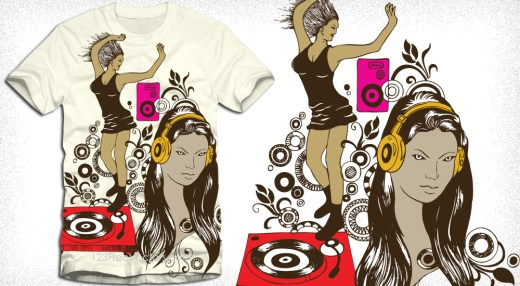 Dancing Girl with Turntable Vector T-Shirt Design