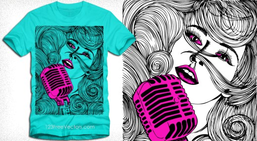 Beautiful Girl Singing on a Microphone T-Shirt Vector Design