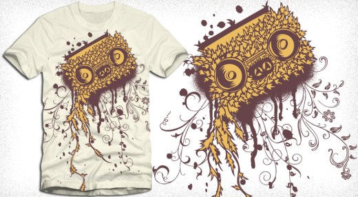 Cassette Tape Vector T-Shirt Design with Floral