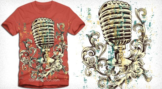Vector Vintage Microphone with Floral Ornaments T-Shirt Design