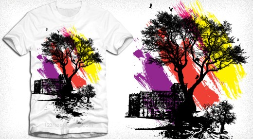 Vector Illustration T-Shirt Design with Tree
