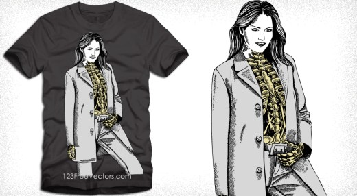 Vector T-Shirt Design with Modern Skeleton Woman