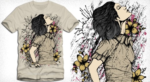 Beautiful Woman with Flower Vector T-Shirt Design