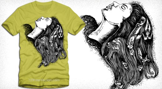 Apparel Vector T-Shirt Design with Woman