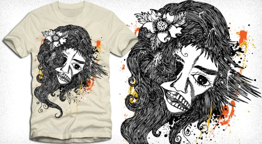 Vector T-Shirt Design with Woman
