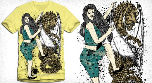 Beautiful Woman with Flying Dragon Vector T-Shirt Design
