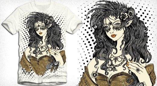 Vintage Beautiful Girl Vector T-Shirt Design Illustration
