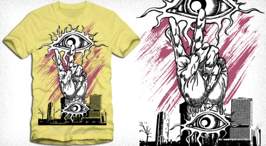 Vector T-Shirt Design with Victory Sign, Building and Eyes