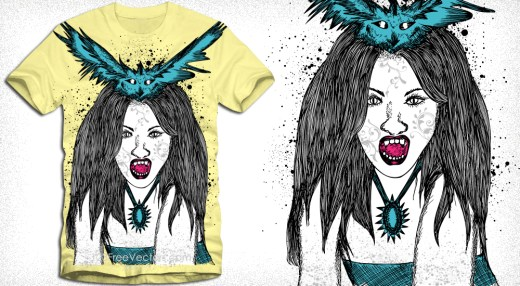 Demon Woman with Bird Vector T-Shirt Design