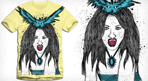 Demon Woman with Bird Vector T-Shirt Design