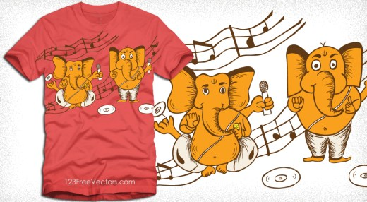 Cartoon Ganesha with Music Notes Vector T-Shirt Design