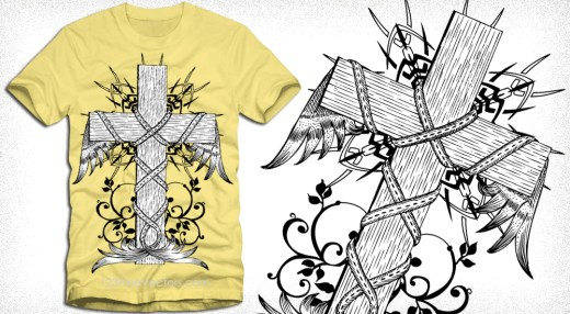 Vector Vintage Winged Cross with Floral T-Shirt Design