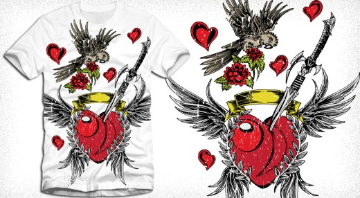 Lovely Winged Heart with Bird, Sword and Flower Vector Tee Design