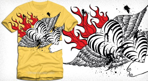 Winged Heart with Fire Flame Vector Art T-Shirt Design