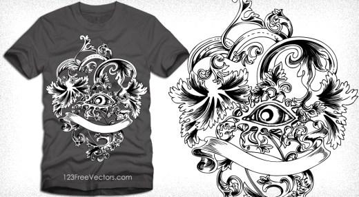Floral Vector Illustration for T-Shirt Design
