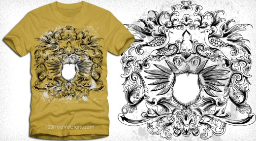 Shield with Floral Ornaments Vector Graphics Tee Design