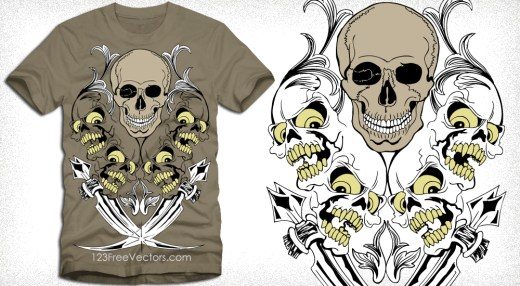 Vector Shirt Design with Skull and Sword