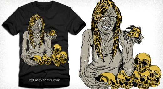 Evil Demon Woman with Skull Vector T-Shirt Design