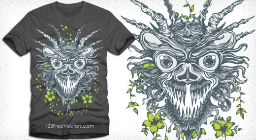 Apparel T-Shirt Design with Demon Head and Flowers