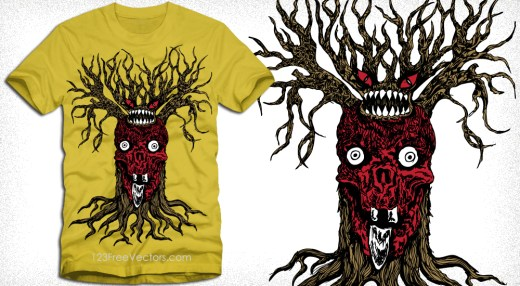 Vector T-Shirt Design with Demon Tree