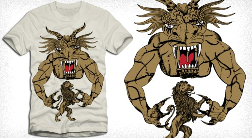 Devil Man with Lion Vector Art Tee Design