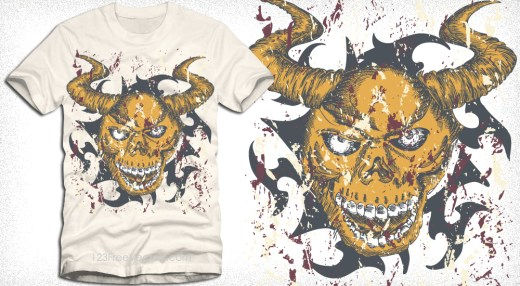 Vector Apparel T-Shirt Design with Devil Skull